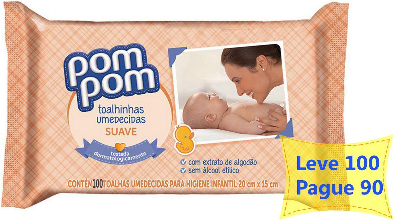 Toalhas Lenços Umedecidos Pom Pom Suave 100 Unidades Testado Dermatologicamente Infantil Bebê Higiene 20x15 Cm Novo
