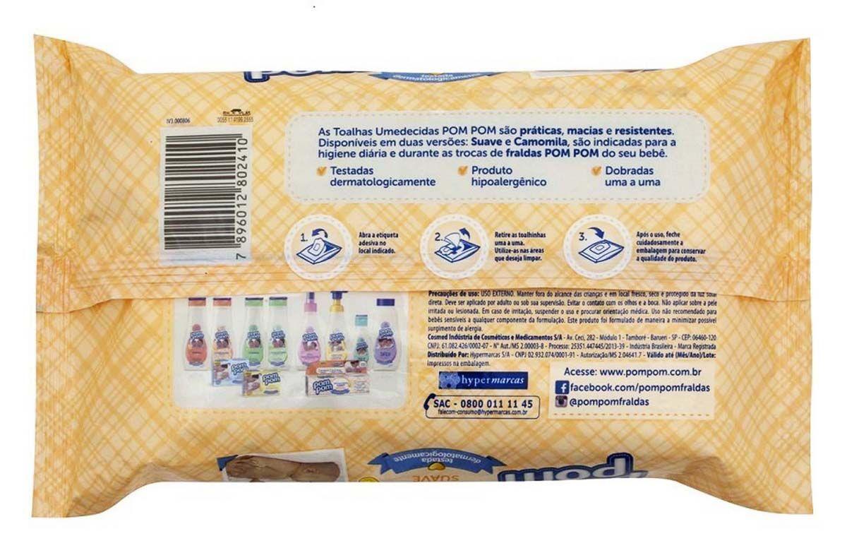 Toalhas Lenços Umedecidos Pom Pom Suave 50 Unidades Testado Dermatologicamente Infantil Bebê Higiene 20x15 Cm Novo