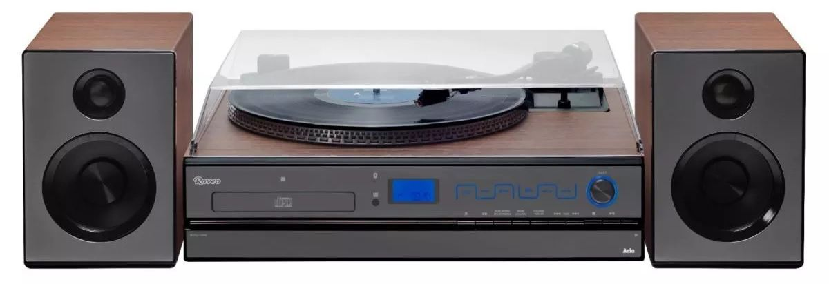 Vitrola Toca Discos Vinil Raveo Bluetooth Lp Rádio Fm Usb Reproduz Grava Cd Player Usb Auxiliar Saída Fone Ouvido Bivolt 30W