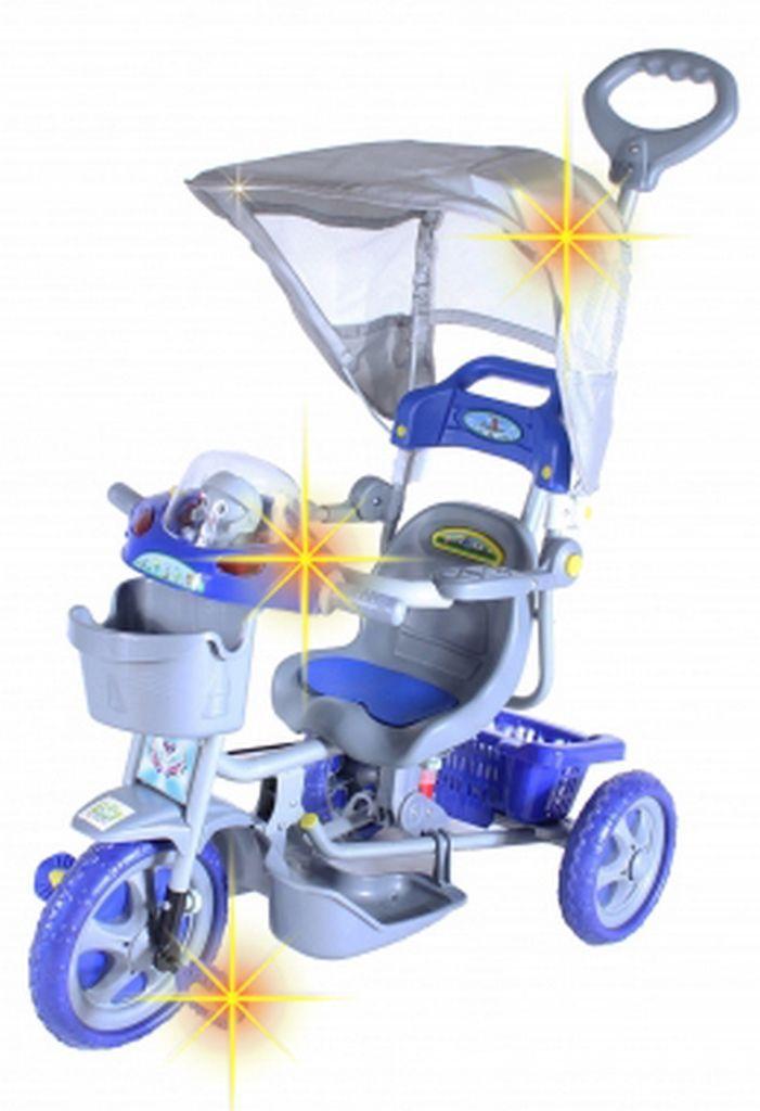 Triciclo Infantil Azul Capota Removível Com Música E Luzes