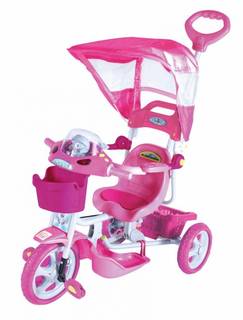 Triciclo Infantil Rosa Capota Removível Com Música E Luzes