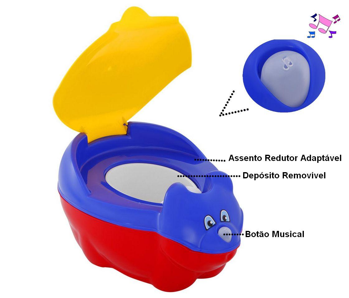 Troninho Musical Azul Vermelho Infantil Penico Com Tampa Menino Tutti Baby