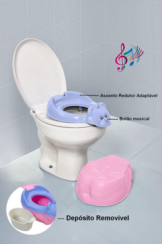 Troninho Musical Rosa Infantil Penico Com Tampa Menina Tutti Baby
