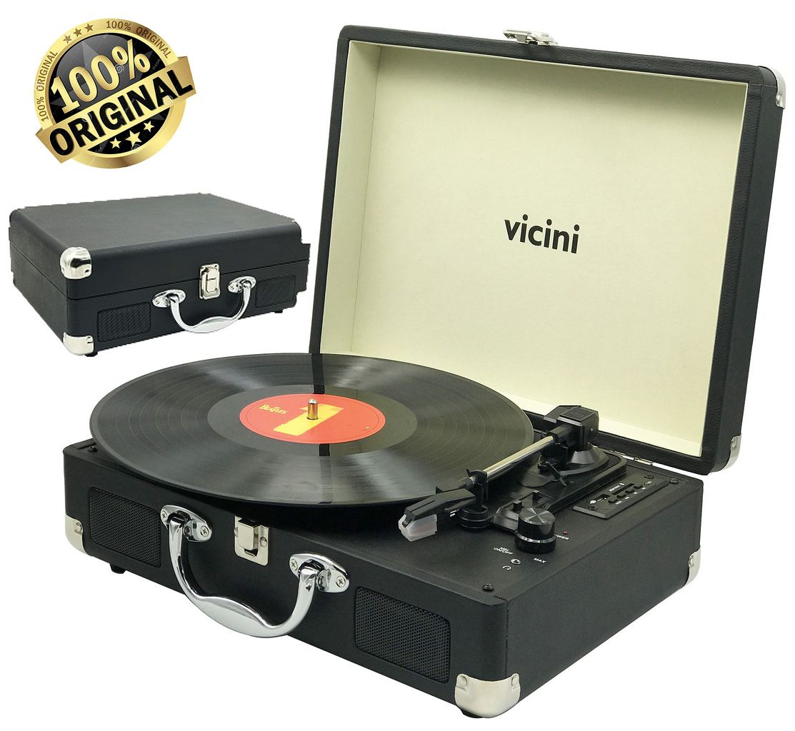 Vitrola Toca Discos Classic Retrô Bluetooth Usb Sd Rádio Fm Grava Reproduz Bivolt Aux Preto VC-285 Vicini Original