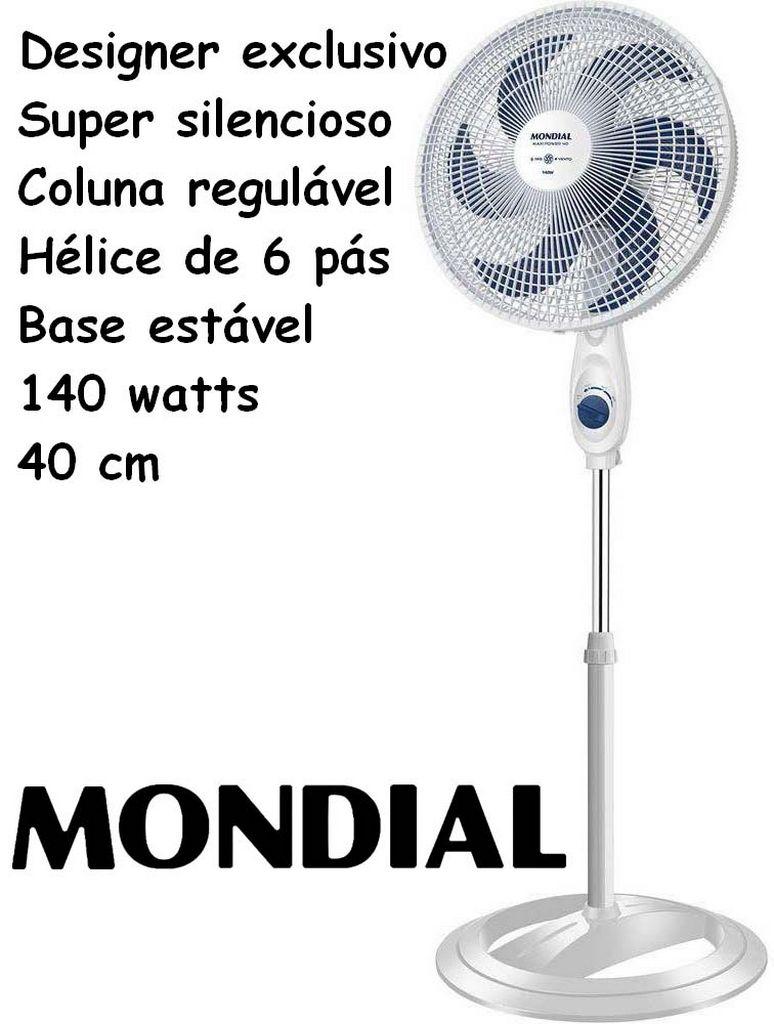 Ventilador De Coluna 40 Cm Base Estável Oscilante 140 Watts Potência Super Silencioso Regulável 6 Pás Branco 3 Velocidades Desmontável Maxi Power Mondial Original