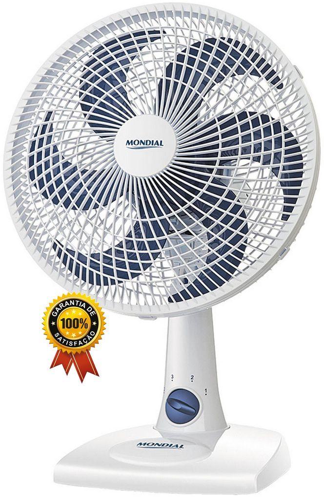 Ventilador De Mesa Parede 30 Cm Silencioso Oscilante 6 Pás 50 Watts Branco 3 Velocidades 127V Econômico Maxi Power Mondial Original