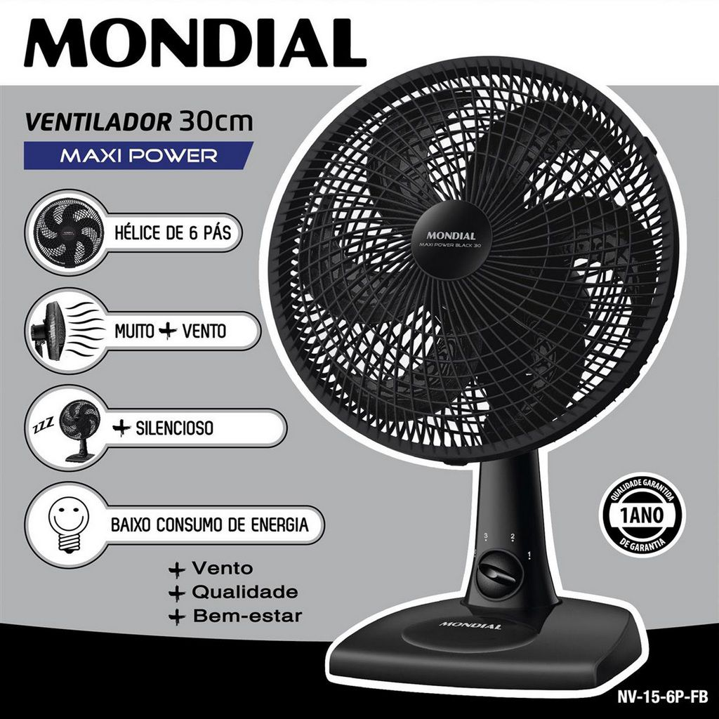 Ventilador De Mesa Parede 30 Cm Silencioso Oscilante 6 Pás 50 Watts Preto 3 Velocidades 127V Econômico Maxi Power Mondial Original