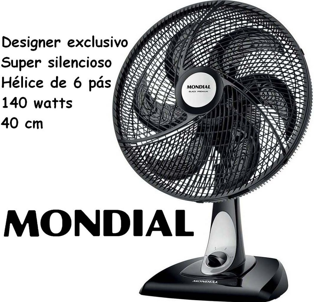 Ventilador De Mesa Parede 40 Cm Super Silencioso Oscilante 6 Pás 140 Watts Preto Grande 3 Velocidades 127V Black Premium Mondial Original