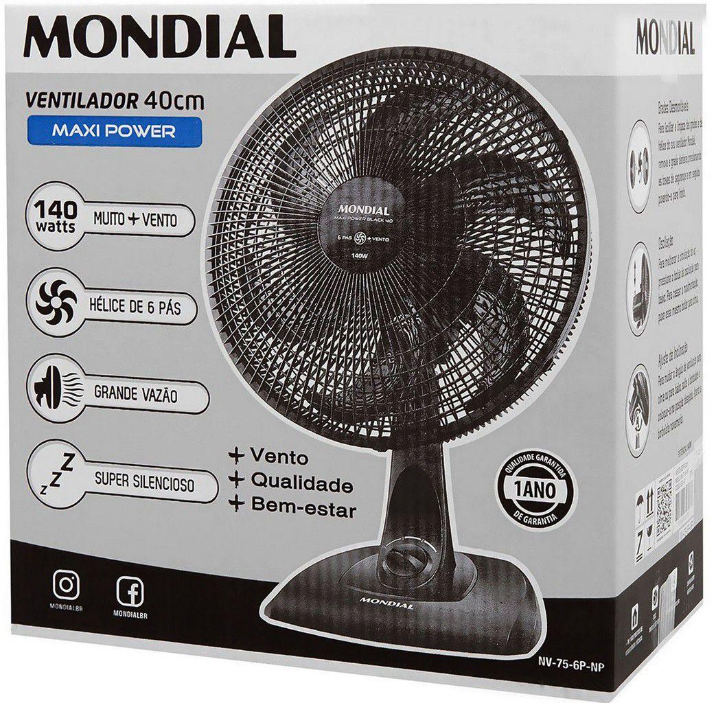 Ventilador De Mesa Parede 40 Cm Super Silencioso Oscilante 6 Pás 140 Watts Preto Grande 3 Velocidades 127V Maxi Power Black Mondial