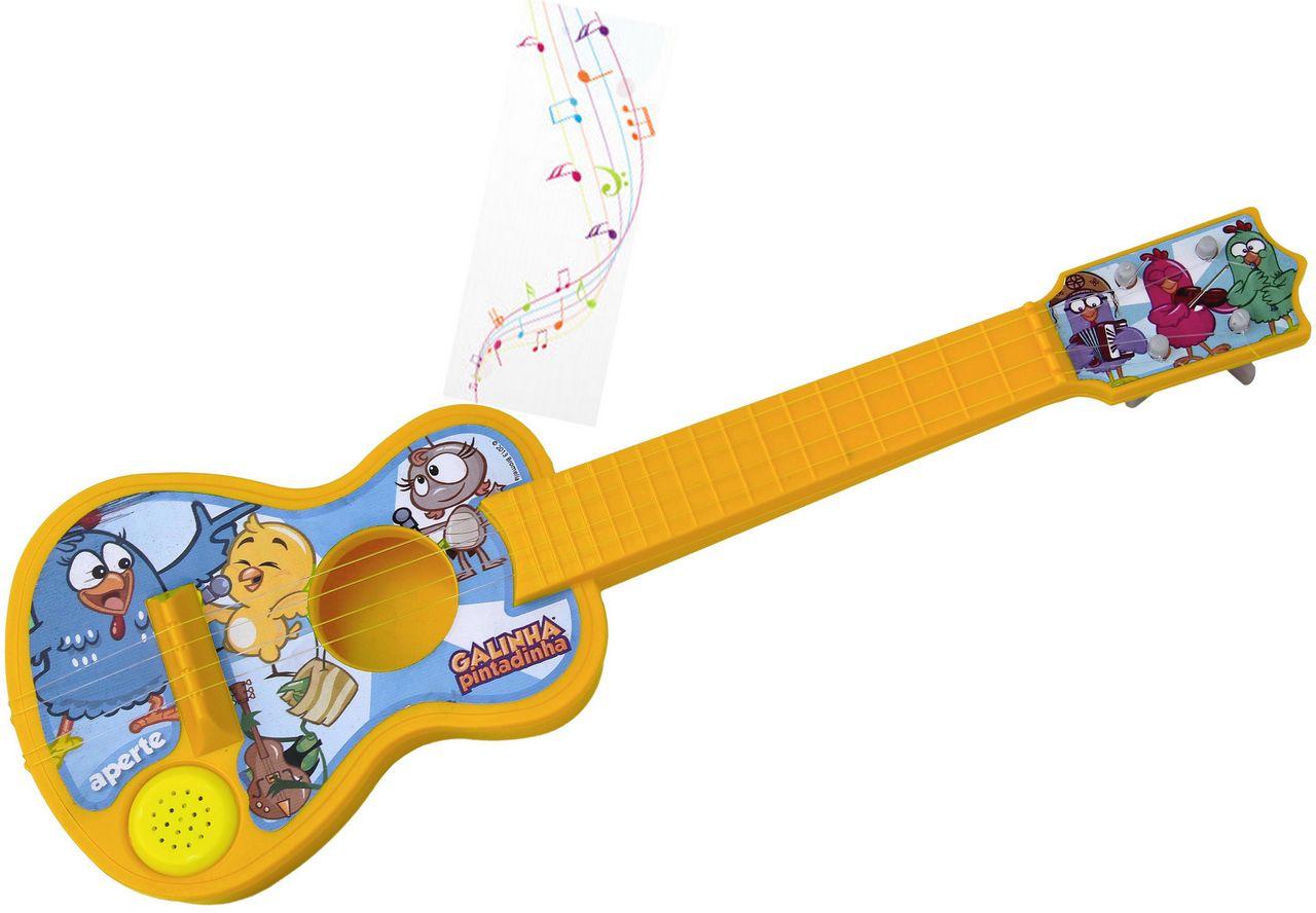 Violão Com Cordas Galinha Pintadinha Com Música Menino Menina Instrumento Musical Infantil Brinquedo Educativo Criança +3 Anos Elka