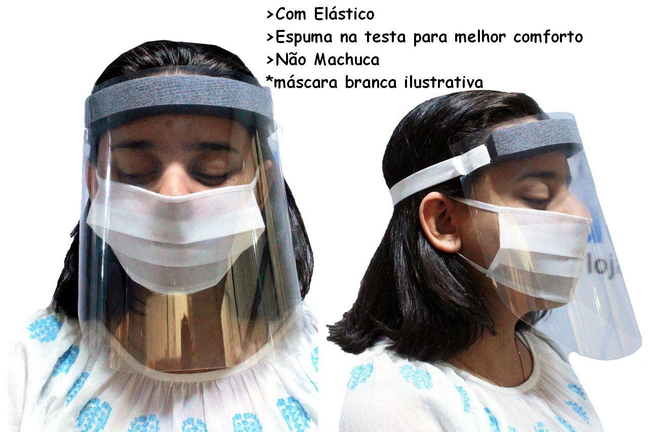 Viseira De Proteção Facial Transparente Respingo Com Elástico 1 Unidade + Capote  Avental Transparente Descartável Polipropileno Talge 1 Unidade Novo