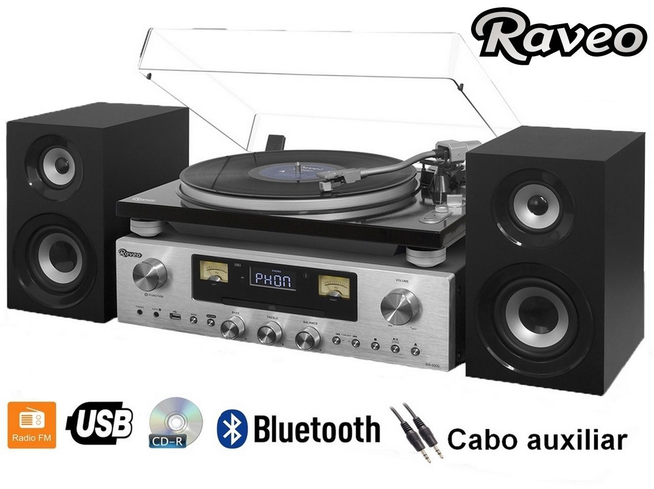 Vitrola Raveo Concert One Com Receiver Toca-discos Cd Player Fm Bluetooth Nfc Usb Reproduz E Grava 80W