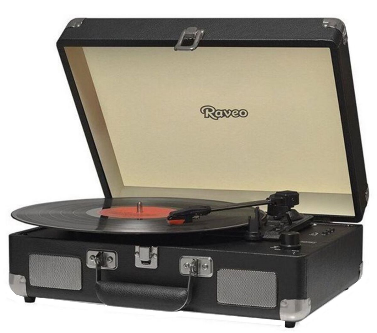 Vitrola Raveo Sonetto Black Toca-Discos Bluetooth Reproduz Grava Bivolt  Usb Retrô