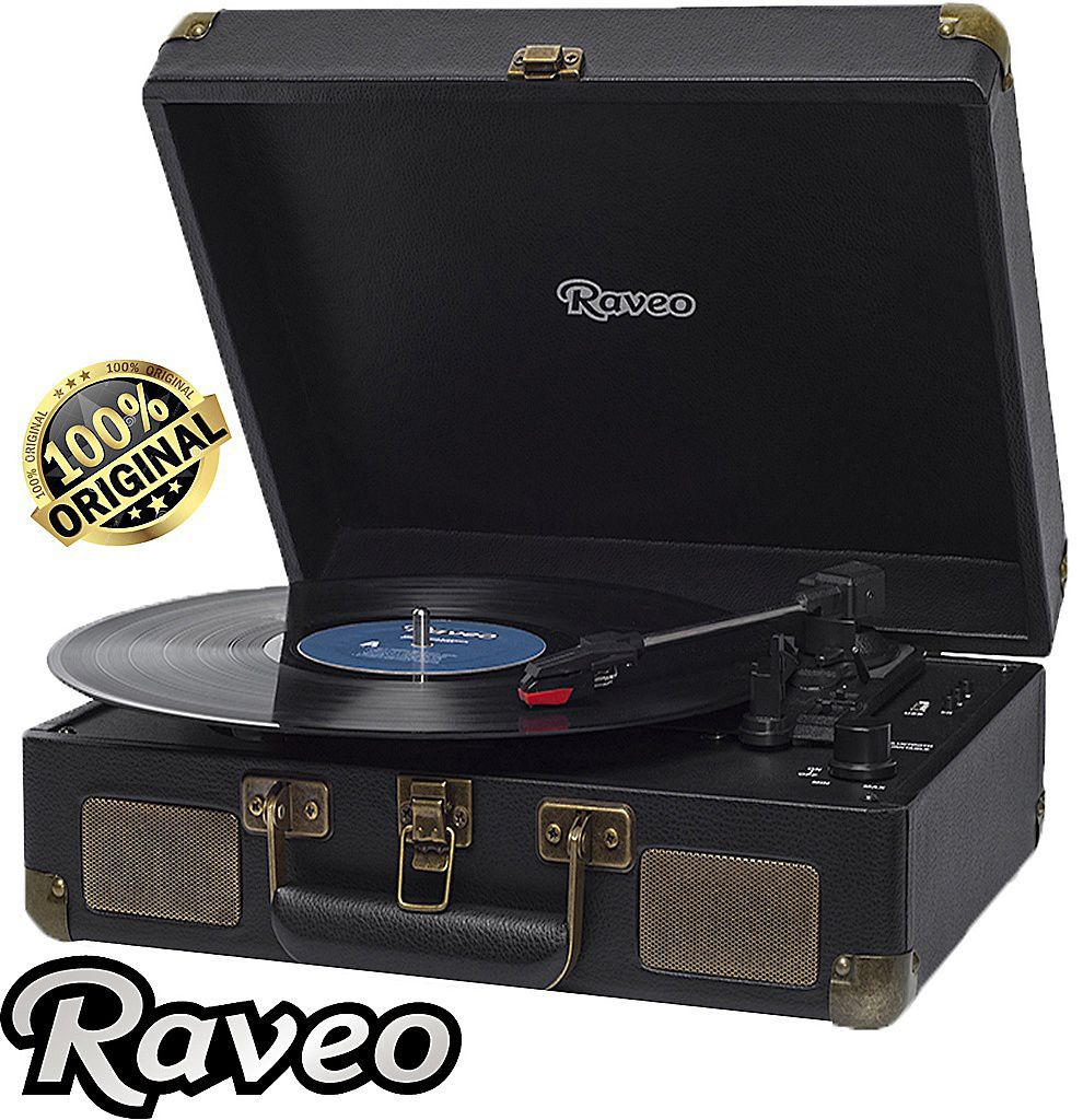 Vitrola Raveo Sonetto Preto Toca-Discos Bluetooth Reproduz Grava Bivolt  Usb Retrô