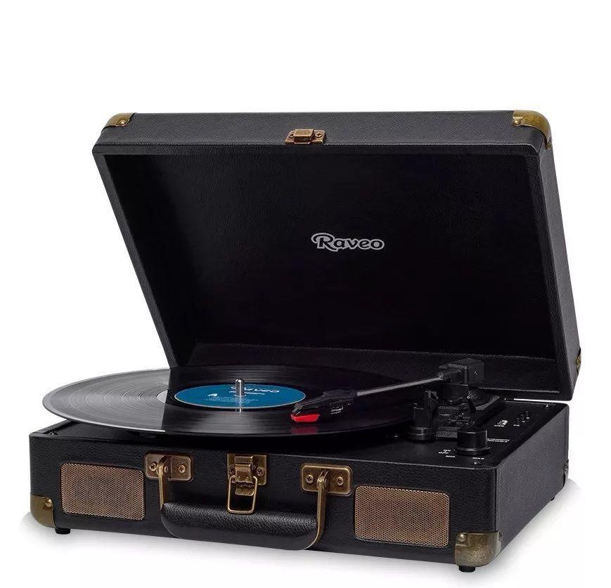 Vitrola Raveo Sonetto Toca-discos Bluetooth Reproduz E Grava Preto