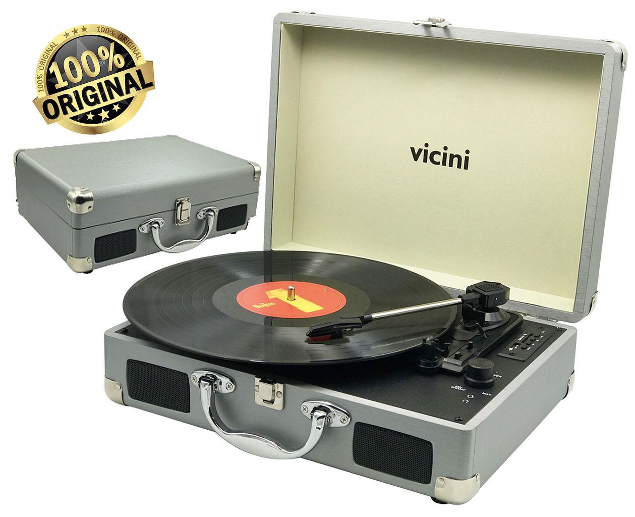 Vitrola Toca Discos Classic Retrô Bluetooth Usb Sd Rádio Fm Grava Reproduz Bivolt Aux Prata VC-285 Vicini Original