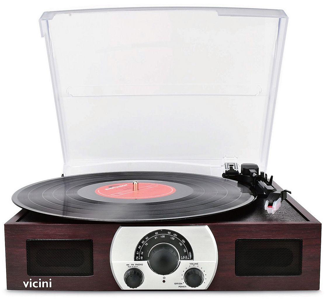 Vitrola Toca Discos Classic Retrô Bluetooth Usb Sd Rádio Fm Grava Reproduz Marrom VC-283 Vicini Original
