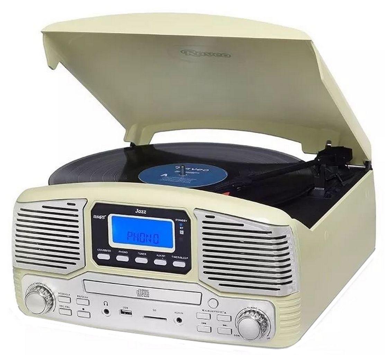 Vitrola Toca Discos Raveo Jazz Creme Bluetooth Rádio Fm Usb Sd Aux Cd Player Reproduz E Grava 10w Original