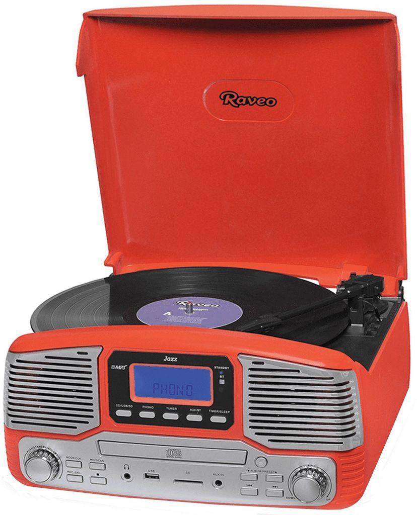 Vitrola Toca Discos Raveo Jazz Vermelha Bluetooth Rádio Fm Usb Sd Aux Reproduz E Grava 10w Original