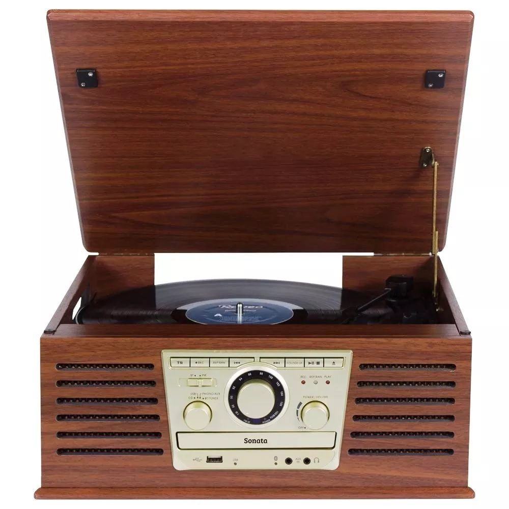 Toca Discos Raveo Sonata Bluetooth/lp/cd/fm/usb/reproduz e grava