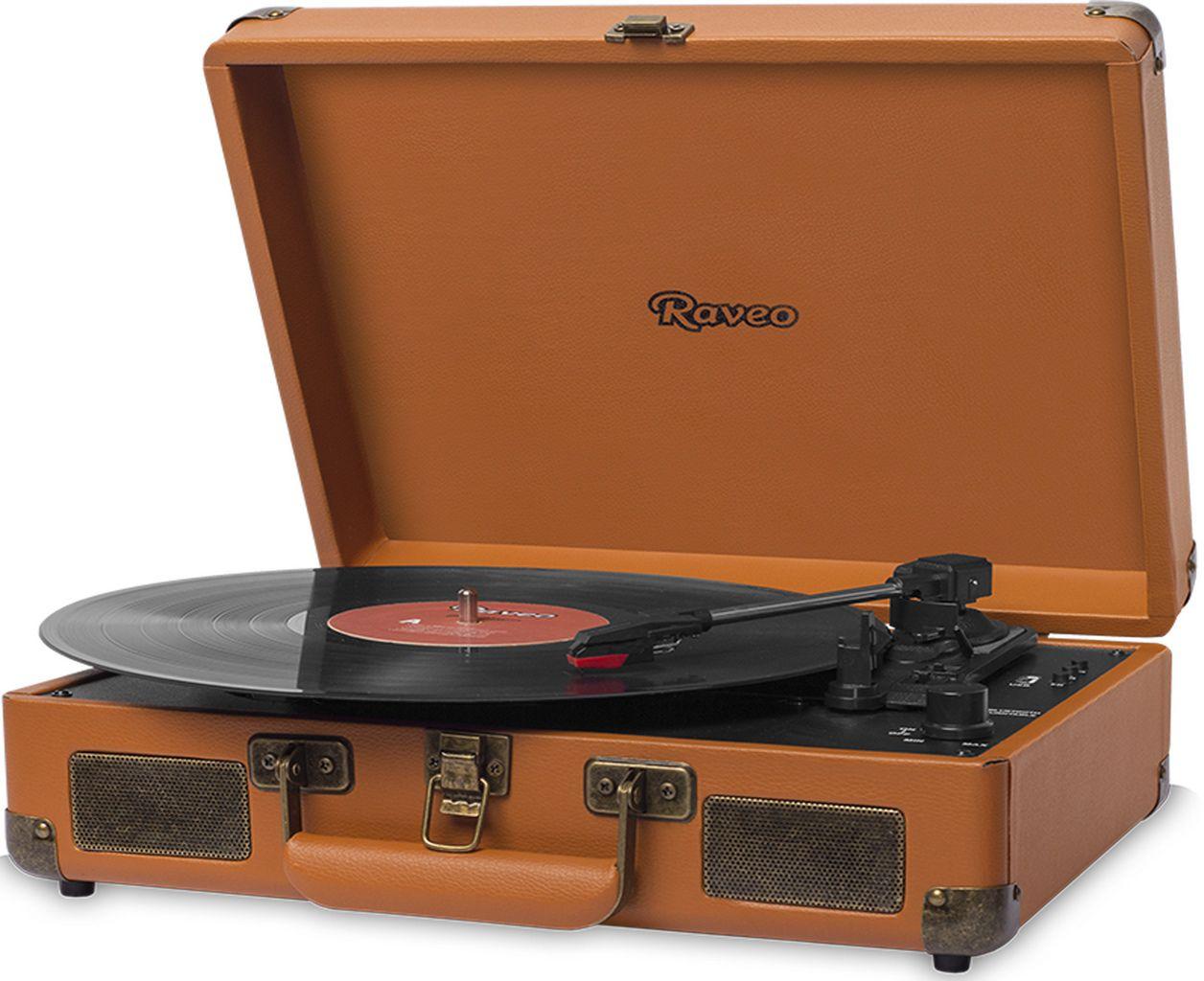 Vitrola Toca Discos Raveo Sonetto Caramelho Bluetooth Usb Reproduz Grava Saída Auxiliar 10 Watts