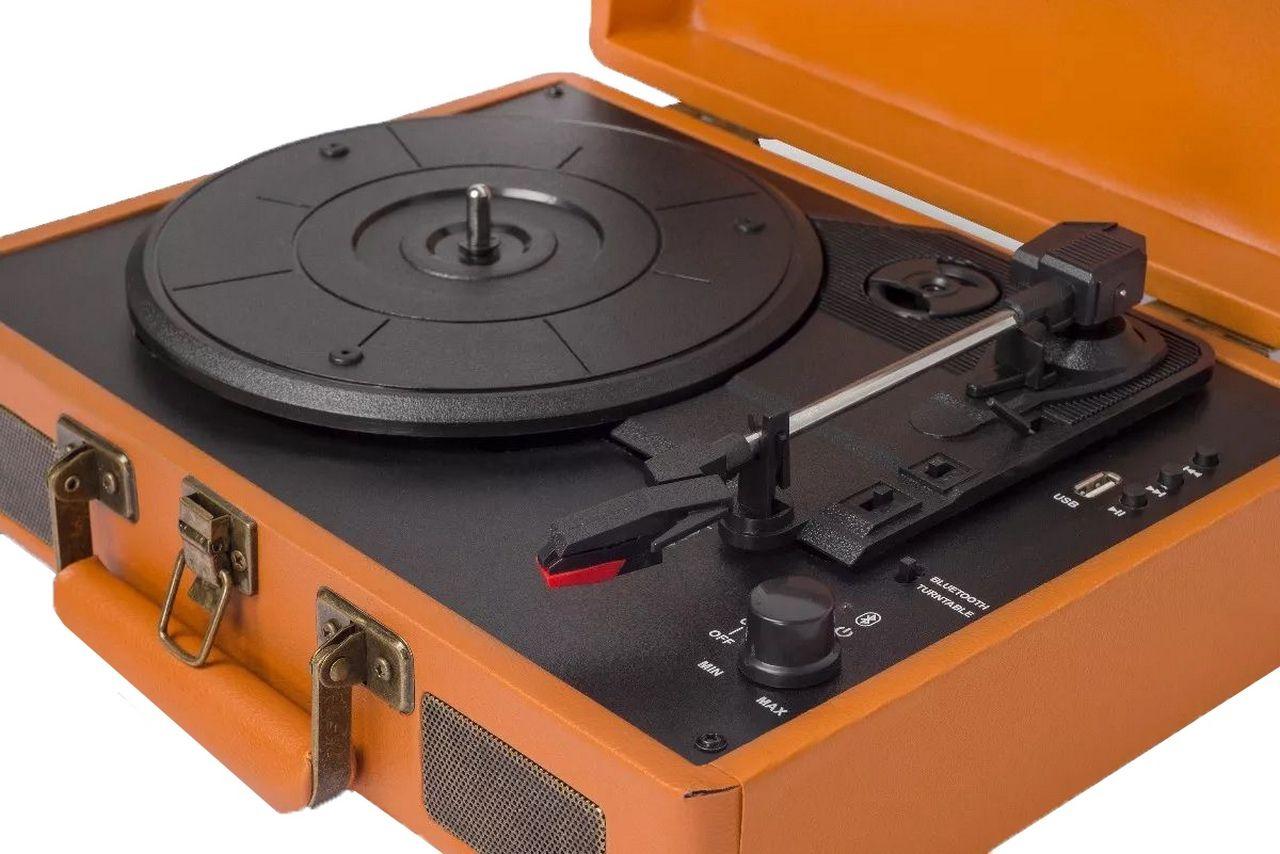Vitrola Toca Discos Raveo Sonetto Retrô Gravação Usb Aux Bluetooth Caramelo