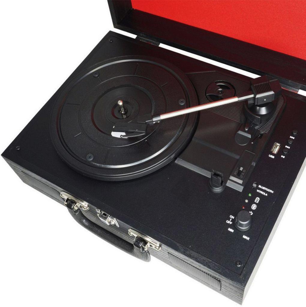 Vitrola Toca Discos Vinil Amvox AVT 1199 Retrô Bluetooth Entrada Usb Bateria Recarregável 20 Watts Bivolt Automático Preta Saída RCA Maleta Madeira
