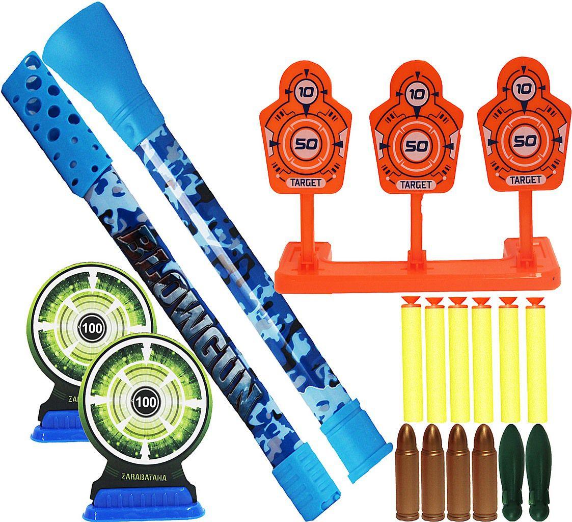 Zarabatana Camuflada Com Mira Infantil Dardos Alvos Plástico Acessórios Menino Menina Azul Verde Modelo ZP00406 Lançamento Zoop Toys