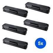 Compatível: Kit 5 Toner MLT-D101S Samsung ML2160 ML2161 ML2165 SCX3400 SCX3401 SCX3405 SCX3406 ML2162G ML2166W ML3400F ML3406W