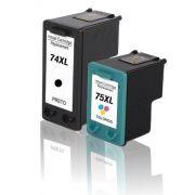 Compativel: Kit 2 Cartuchos para HP 74XL e para HP 75XL para CB338WB Color J5780 C4280 C4480 D4260 C5280