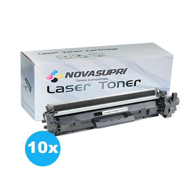Compatível: Kit com 10 Toner Novasupri para HP CF217A CF217 17A M102 M102A M102W M130 M130FW