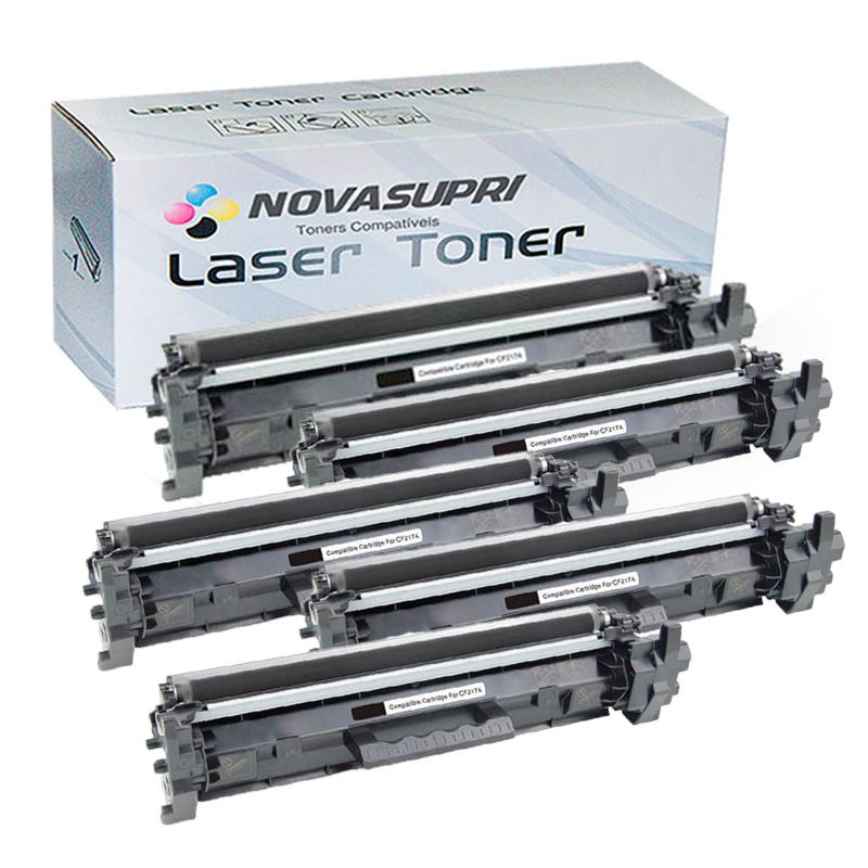 Compatível: Kit com 5 Toner Novasupri para HP CF217A CF217 17A M102 M102A M102W M130 M130FW