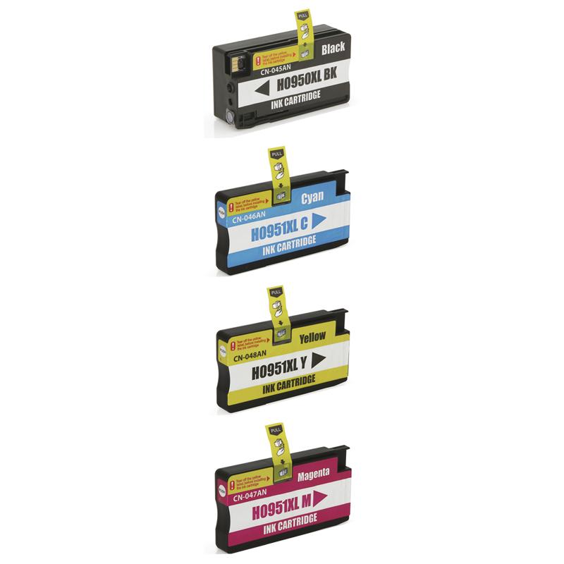 Compativel: Kit Cartucho para HP 950XL CN045A CN046A CN047A e CN048A Preto Ciano Amarelo e Magenta.