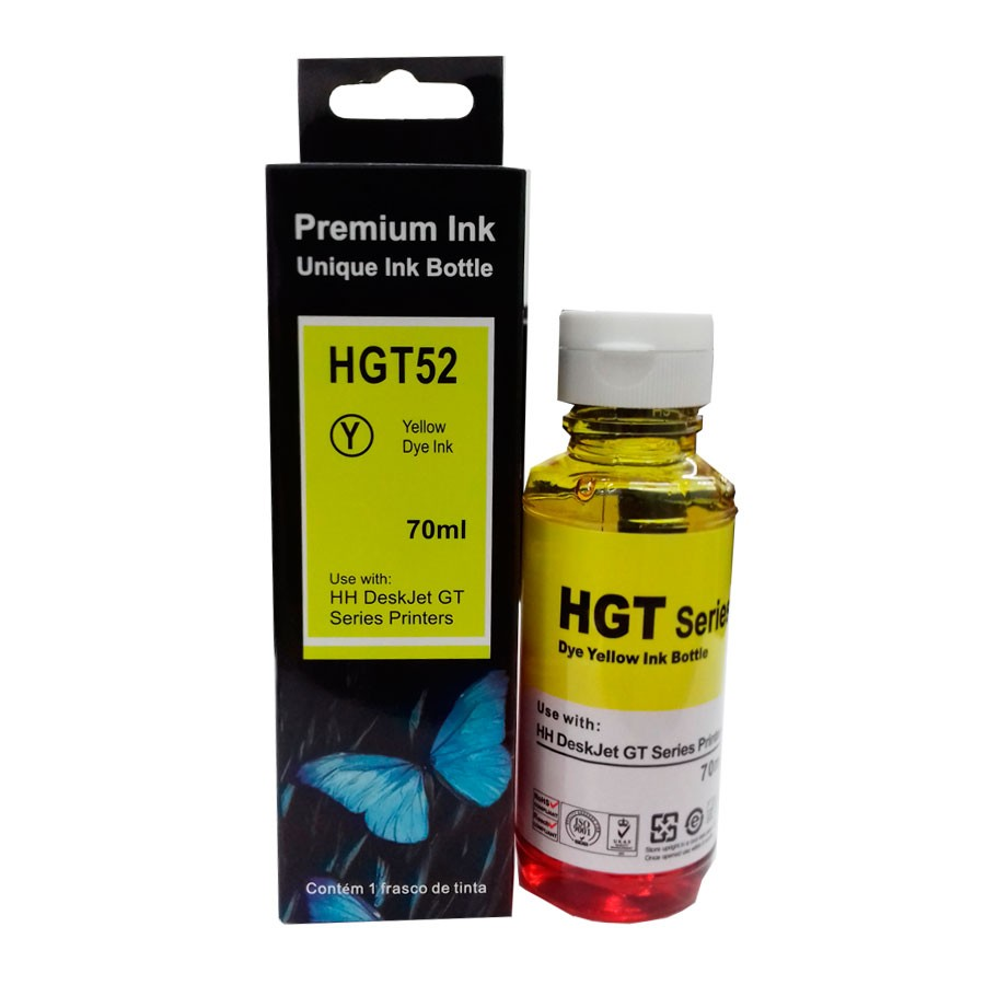 Refil de tinta GT52 M0H56AL para HP DeskJet GT 5810 5820 5822 amarelo - 70ml