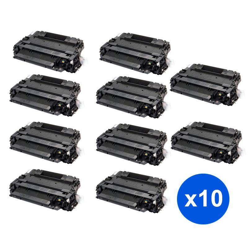 Compativel: Kit 10 Toner CE255A 55A 500 M525F para HP P3015DN P3015X P3015N P3016 P3015