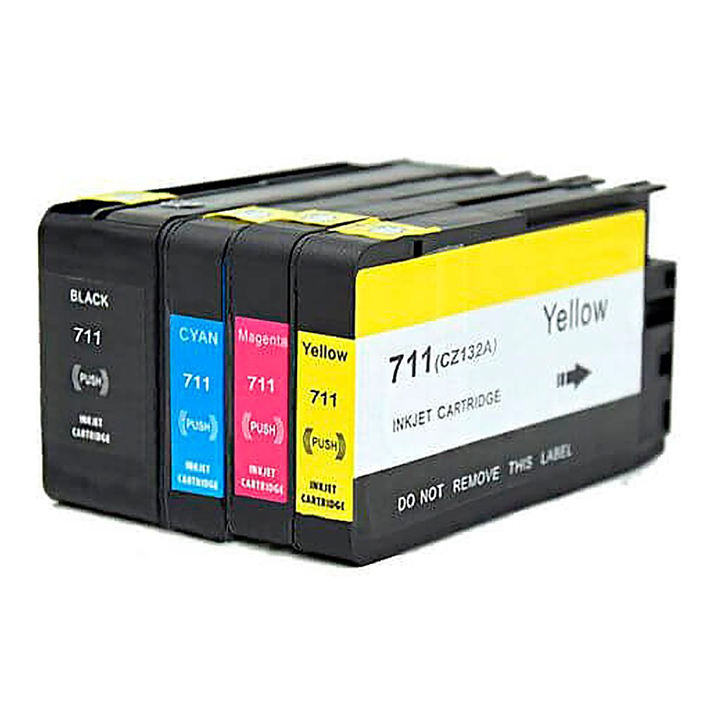 Compativel: Kit 4 Cartuchos 711XL para HP T120 T520 CMYK