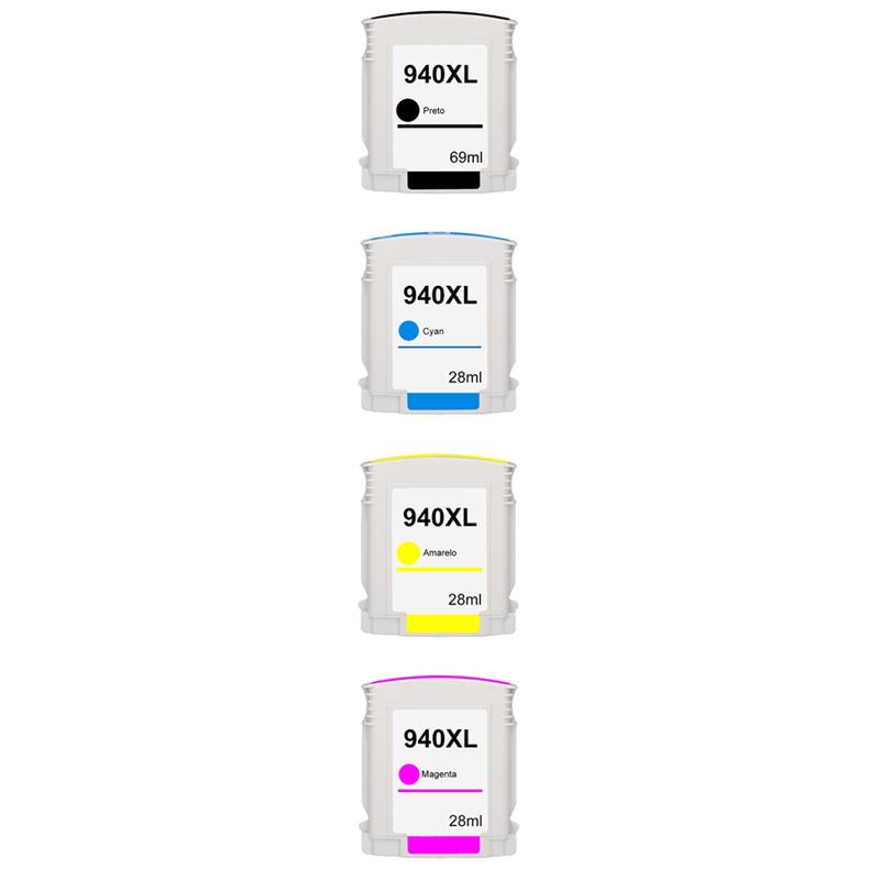 Compativel: Kit Cartucho para HP 940XL C4906A C4907A C4908A e C4909A Preto Ciano Amarelo e Magenta.
