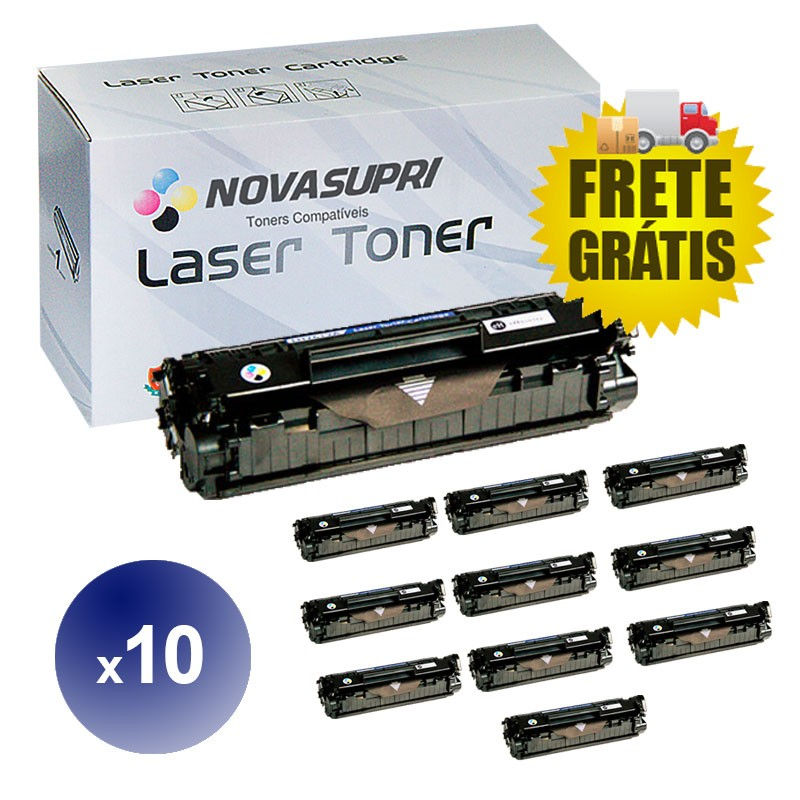 Compativel: Kit com 10 Toner para HP Q2612A - 1010 1012 1015 1018 1020 1022 3015 3030 3050 3052 1319
