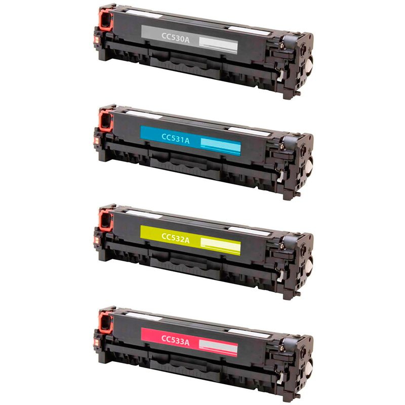 Compativel: Kit 4 Toner para HP CC530A CM2320N CM2320NF CM2320 CM2320MFP CP2025 CP2025DN