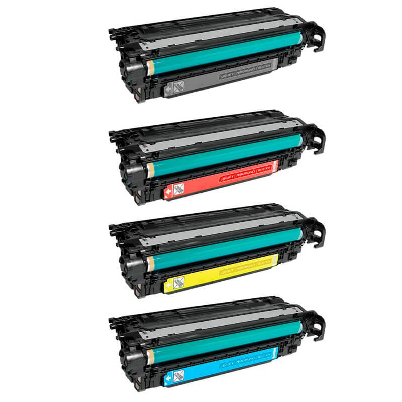 Compativel: Kit Toner para HP CE250X CE251A CE252A CE253A CM3530FS CM3530 CP3525DN CP3525