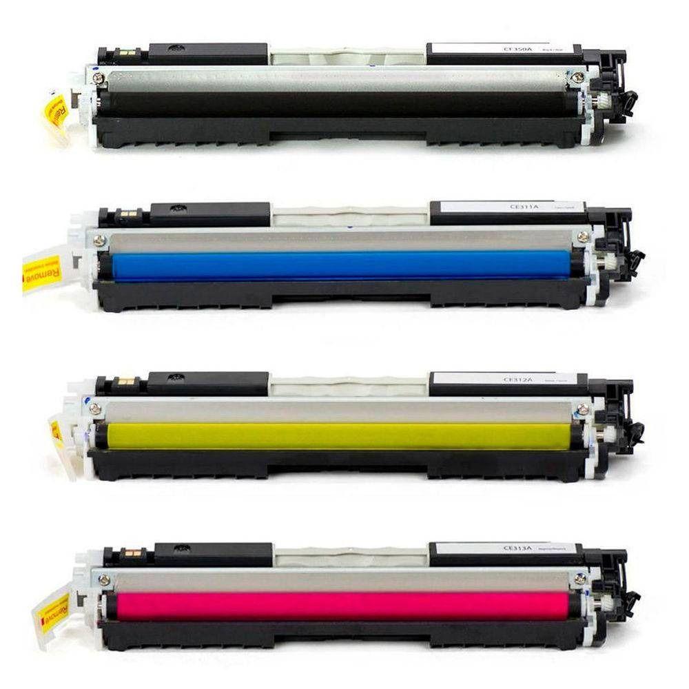 Compativel: Kit 4 Toner para HP 130A CF350A CF351A CF352A CF353A M176N M177FW Compatíveis