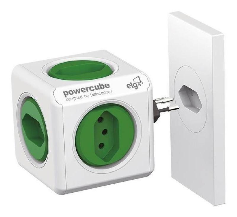 Adaptador Tomadas Power Cube Bivolt 5t Original Verde