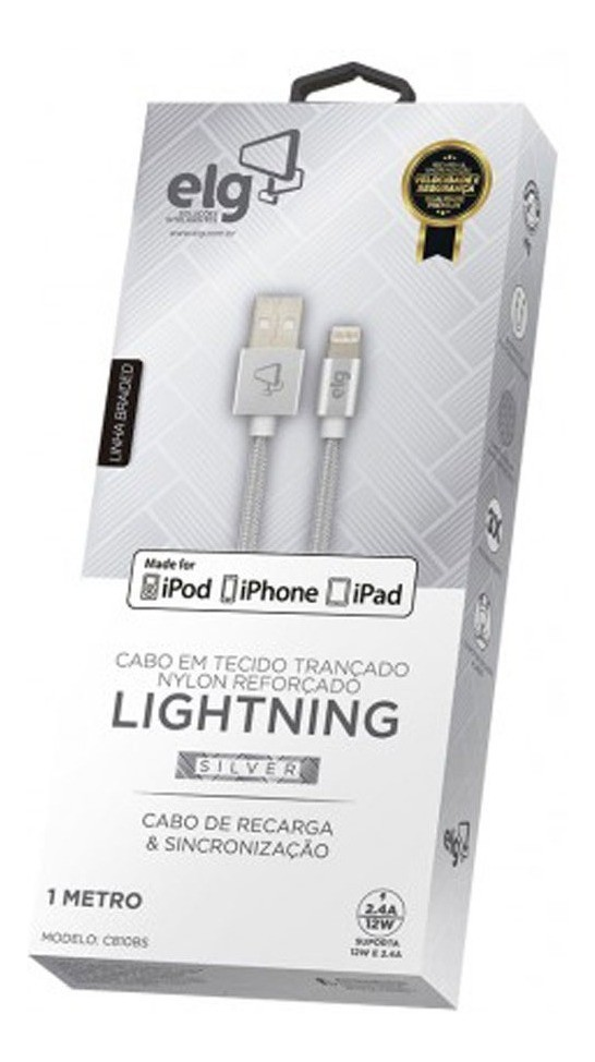 Cabo Lightning P/ iPhone iPad Reforçado Prata - ELG