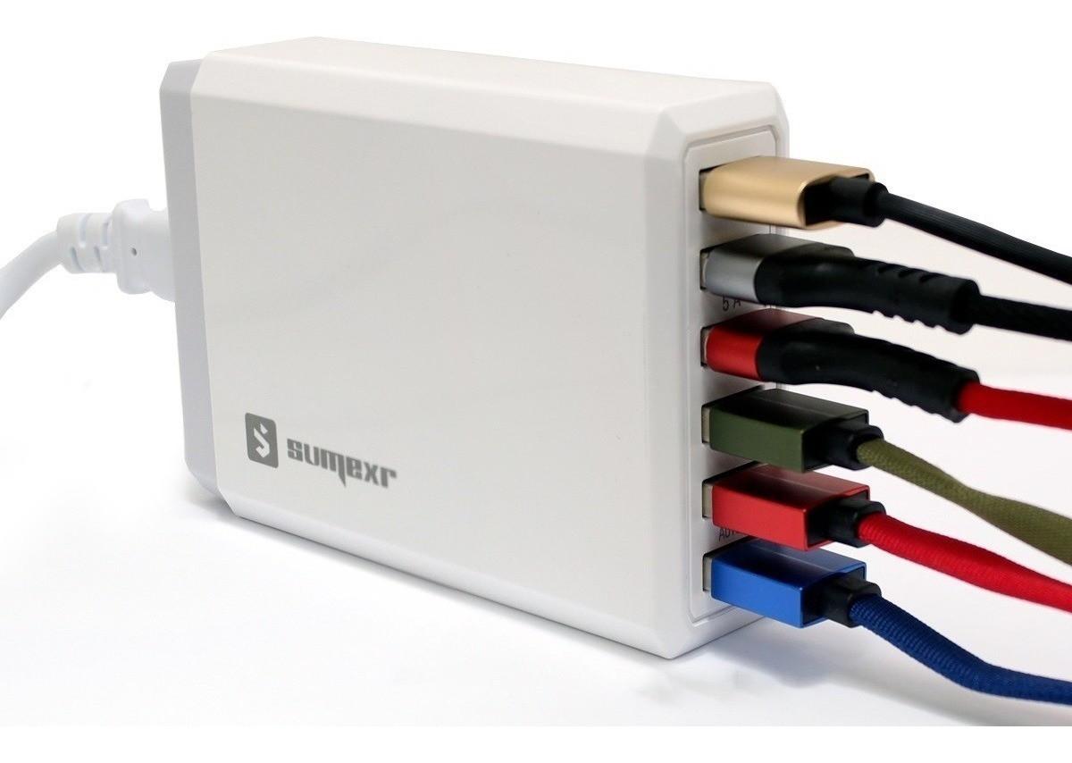 Carregador 6 Porta USB Rápido 10A Universal - SUMERX  Branco