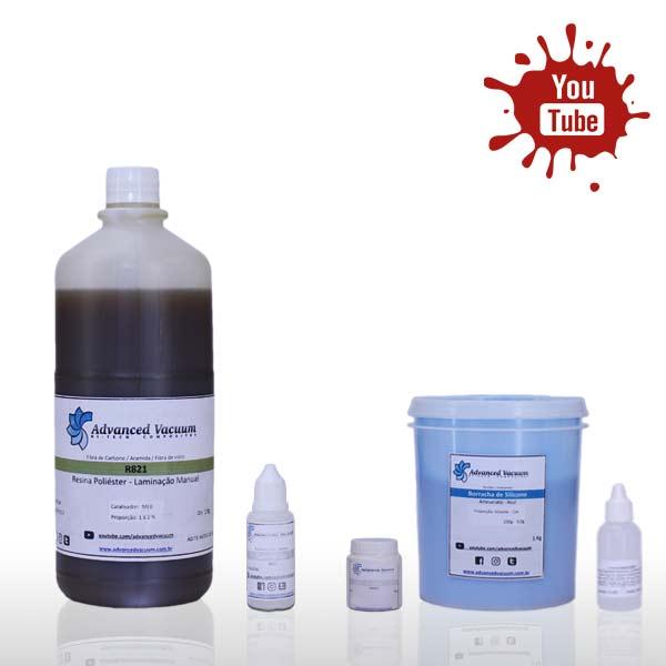 Kit Borracha de Silicone Azul + Resina Poliéster [Artesanato]