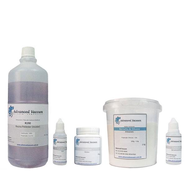 Kit Borracha de Silicone Branca + Resina Cristal Poliéster [Artesanato]