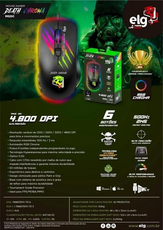 Mouse Death Chroma - Gamer - 4800dpi - ELG - Preto
