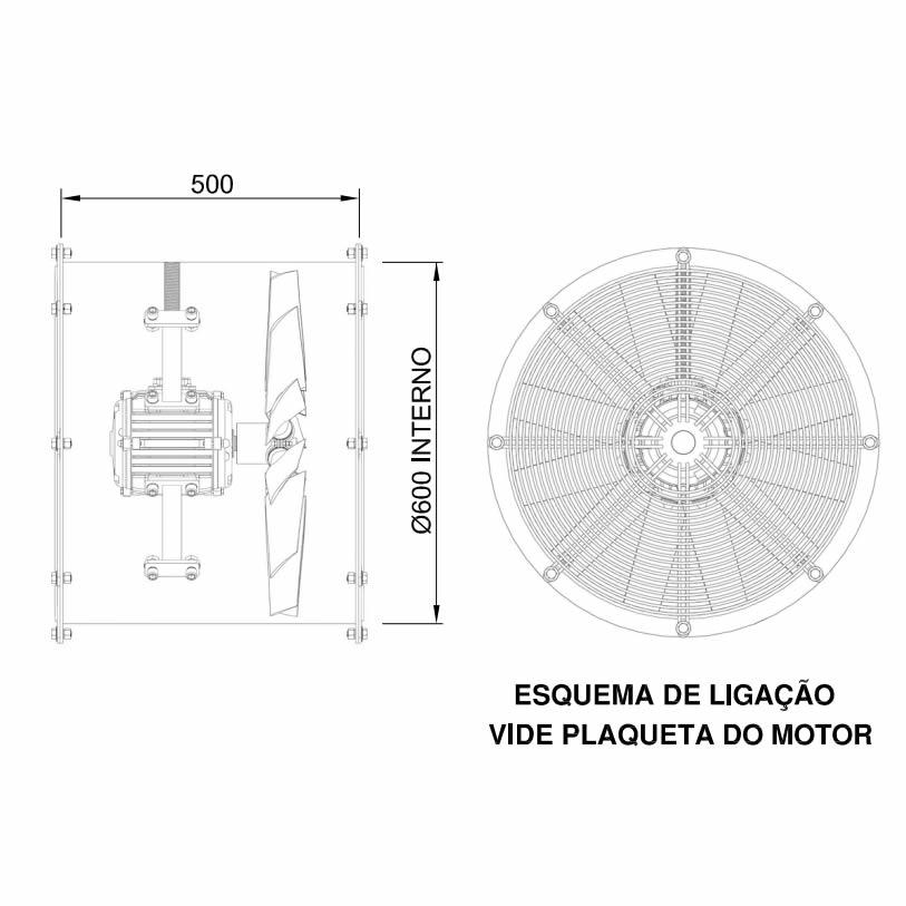 Exaustor Axial Ø60cm   Smoke 600 T6 Contra Incêndio - Qualitas