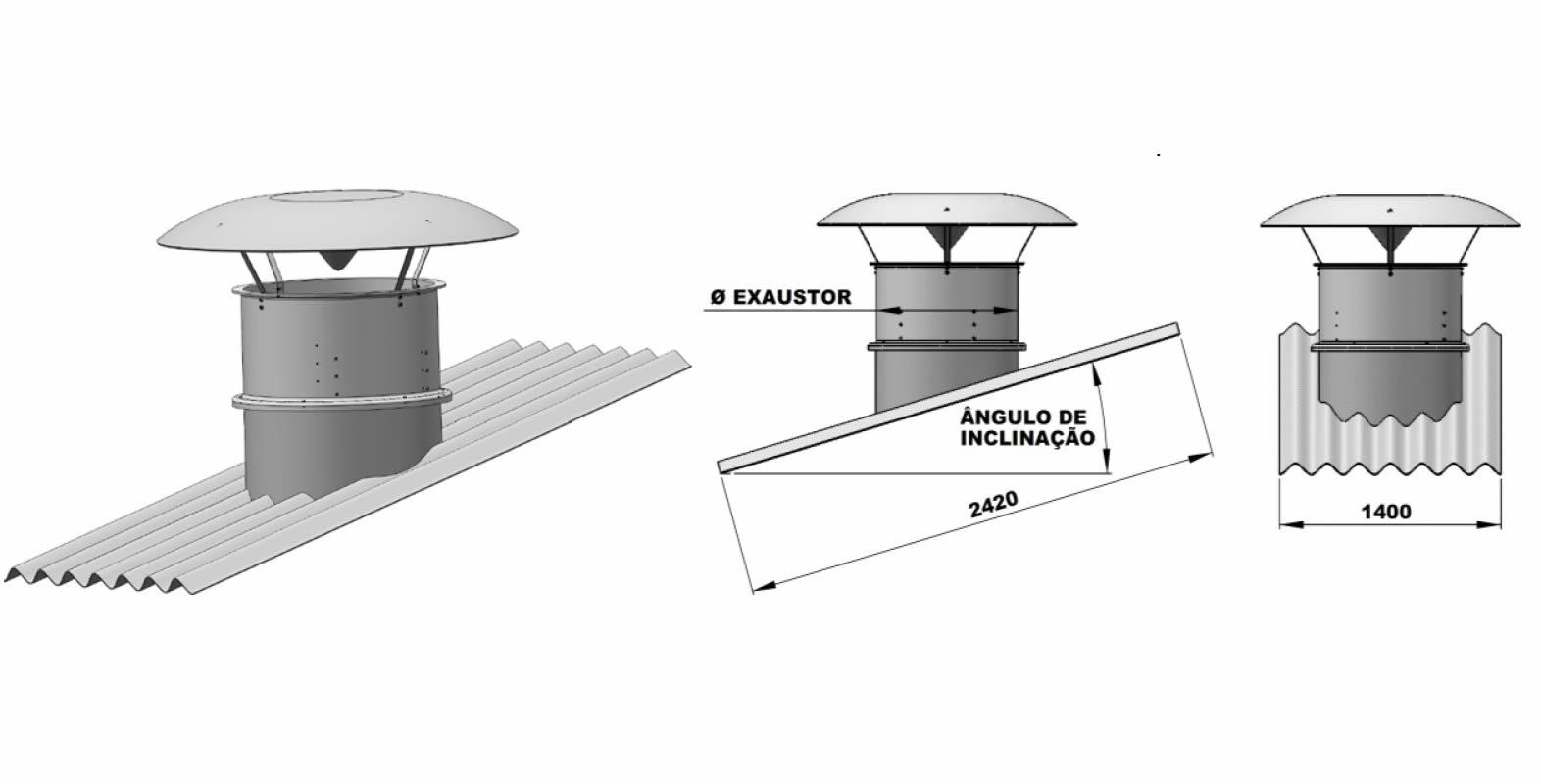 Exaustor Axial com Telhado Ø100cm   EQT1000 T8 - Qualitas