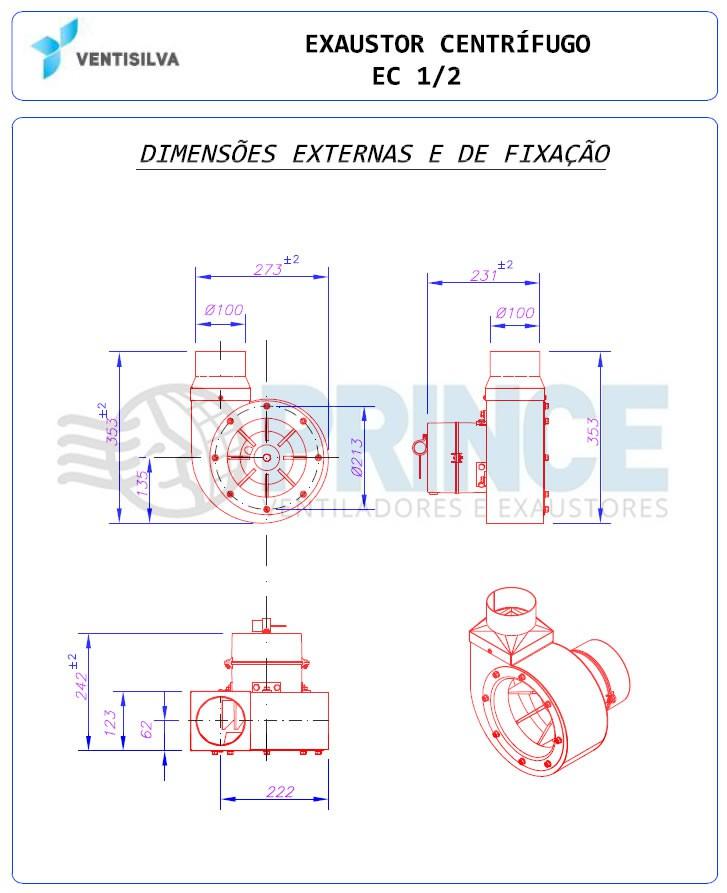 Exaustor Centrífugo - 0,5 HP | EC Meio - Ventisilva